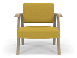 Classic Mid-century Design Armchair in Mustard Yellow Fabric-Natural Oak-Distinct Designs (London) Ltd