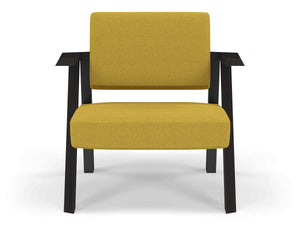 Classic Mid-century Design Armchair in Mustard Yellow Fabric-Wenge Oak-Distinct Designs (London) Ltd