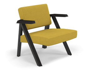 Classic Mid-century Design Armchair in Mustard Yellow Fabric-Distinct Designs (London) Ltd