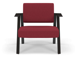 Classic Mid-century Design Armchair in Rasberry Red Fabric-Wenge Oak-Distinct Designs (London) Ltd