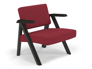 Classic Mid-century Design Armchair in Rasberry Red Fabric-Distinct Designs (London) Ltd