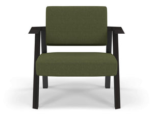 Classic Mid-century Design Armchair in Seaweed Green Fabric-Wenge Oak-Distinct Designs (London) Ltd