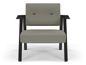 Classic Mid-century Design Armchair with Buttons in Silver Grey Fabric-Wenge Oak-Distinct Designs (London) Ltd