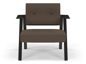 Classic Mid-century Design Armchair with Buttons in Coffee Brown Fabric-Wenge Oak-Distinct Designs (London) Ltd