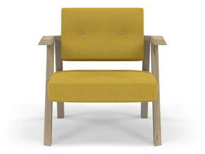 Classic Mid-century Design Armchair with Buttons in Mustard Yellow Fabric-Natural Oak-Distinct Designs (London) Ltd