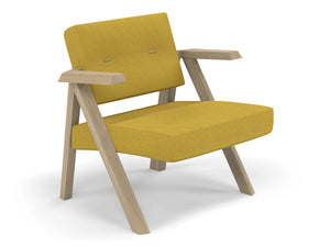 Classic Mid-century Design Armchair with Buttons in Mustard Yellow Fabric-Distinct Designs (London) Ltd