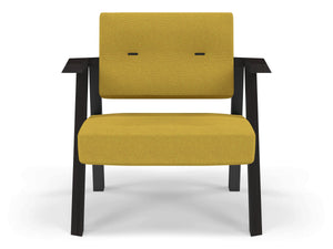Classic Mid-century Design Armchair with Buttons in Mustard Yellow Fabric-Wenge Oak-Distinct Designs (London) Ltd