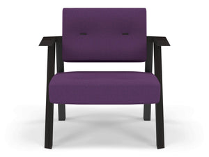 Classic Mid-century Design Armchair with Buttons in Deep Purple Fabric-Wenge Oak-Distinct Designs (London) Ltd