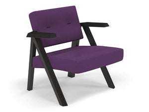 Classic Mid-century Design Armchair with Buttons in Deep Purple Fabric-Distinct Designs (London) Ltd
