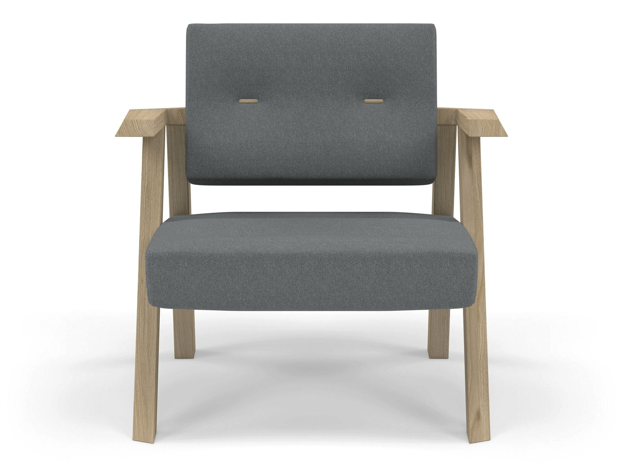 Classic Mid-century Design Armchair with Buttons in Sea Spray Blue Fabric-Natural Oak-Distinct Designs (London) Ltd