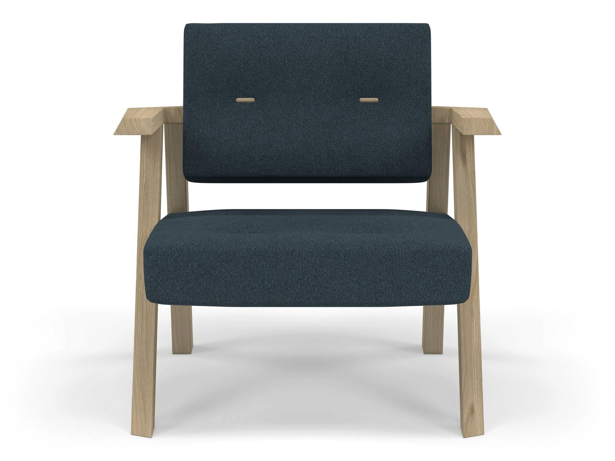 Classic Mid-century Design Armchair with Buttons in Denim Blue Fabric-Natural Oak-Distinct Designs (London) Ltd