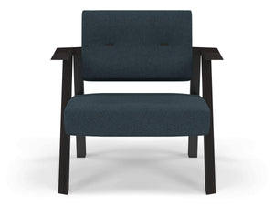 Classic Mid-century Design Armchair with Buttons in Denim Blue Fabric-Wenge Oak-Distinct Designs (London) Ltd