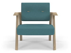 Classic Mid-century Design Armchair with Buttons in Teal Blue Fabric-Natural Oak-Distinct Designs (London) Ltd