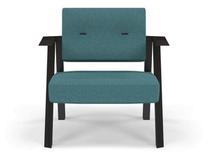 Classic Mid-century Design Armchair with Buttons in Teal Blue Fabric-Wenge Oak-Distinct Designs (London) Ltd