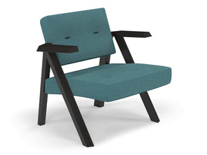 Classic Mid-century Design Armchair with Buttons in Teal Blue Fabric-Distinct Designs (London) Ltd