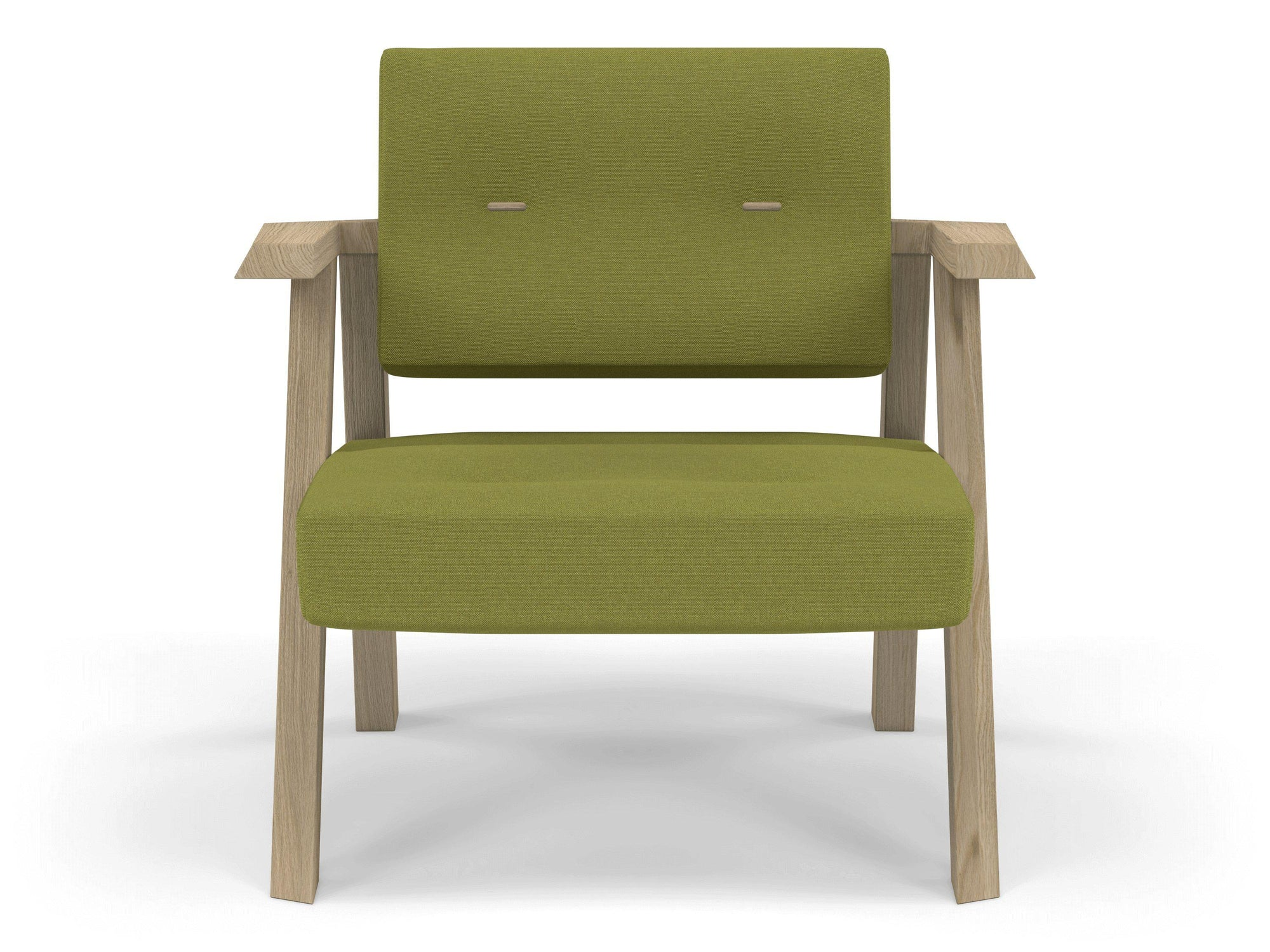 Classic Mid-century Design Armchair with Buttons in Lime Green Fabric-Natural Oak-Distinct Designs (London) Ltd