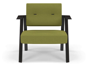 Classic Mid-century Design Armchair with Buttons in Lime Green Fabric-Wenge Oak-Distinct Designs (London) Ltd
