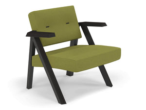 Classic Mid-century Design Armchair with Buttons in Lime Green Fabric-Distinct Designs (London) Ltd