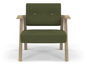 Classic Mid-century Design Armchair with Buttons in Seaweed Green Fabric-Natural Oak-Distinct Designs (London) Ltd
