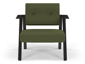 Classic Mid-century Design Armchair with Buttons in Seaweed Green Fabric-Wenge Oak-Distinct Designs (London) Ltd