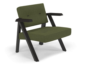 Classic Mid-century Design Armchair with Buttons in Seaweed Green Fabric-Distinct Designs (London) Ltd