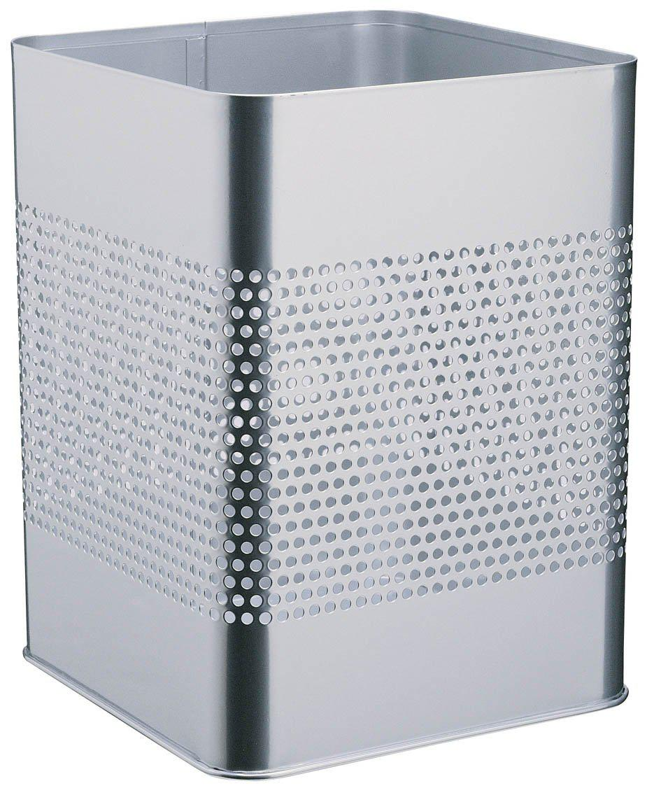 Modern Square Metal Waste Paper Basket 18.5L with large 165mm Decorative Perforation in the middle-Black-Distinct Designs (London) Ltd