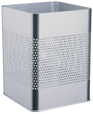 Modern Square Metal Waste Paper Basket 18.5L with large 165mm Decorative Perforation in the middle-Silver-Distinct Designs (London) Ltd