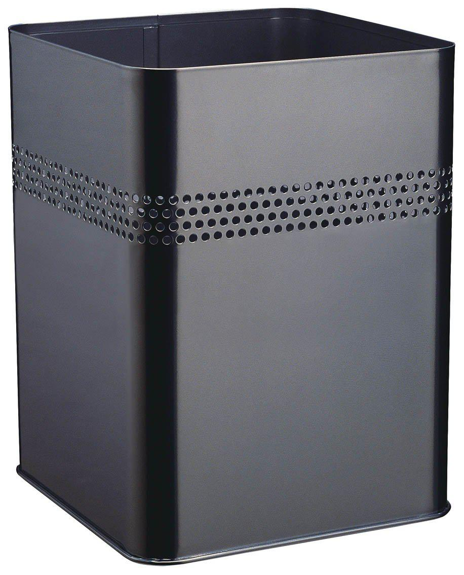 Modern Square Metal Waste Paper Basket 18.5L with 30mm Decorative Perforation at the top-Black-Distinct Designs (London) Ltd