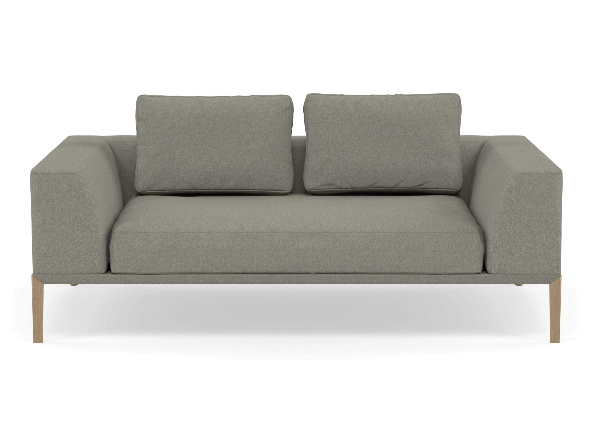 Modern 2 Seater Sofa with 2 Armrests in Silver Grey Fabric-Natural Oak-Distinct Designs (London) Ltd