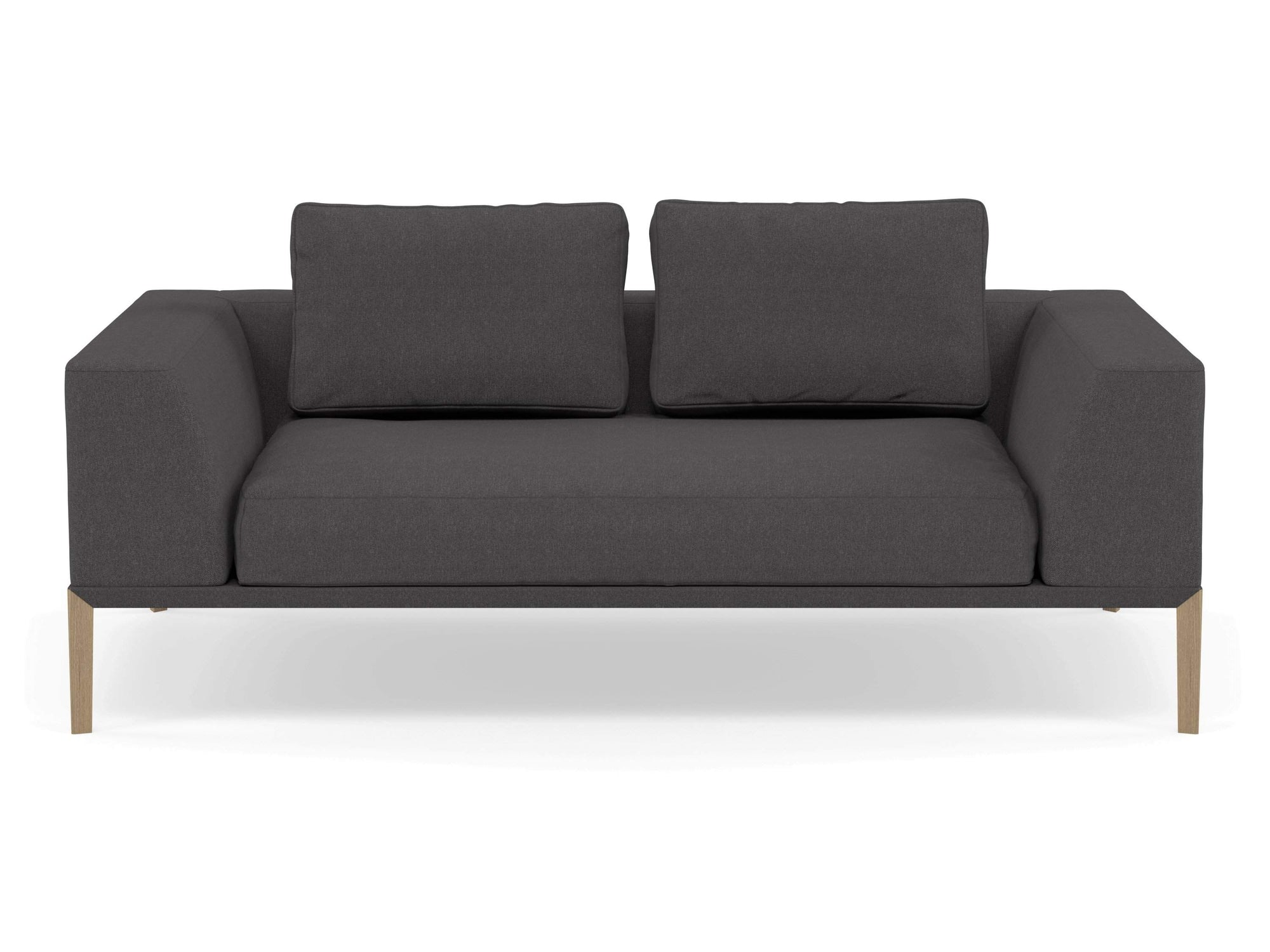Modern 2 Seater Sofa with 2 Armrests in Slate Grey Fabric-Natural Oak-Distinct Designs (London) Ltd