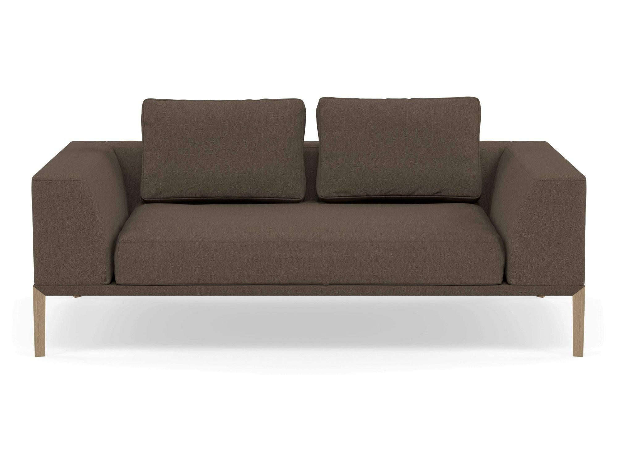 Modern 2 Seater Sofa with 2 Armrests in Coffee Brown Fabric-Natural Oak-Distinct Designs (London) Ltd