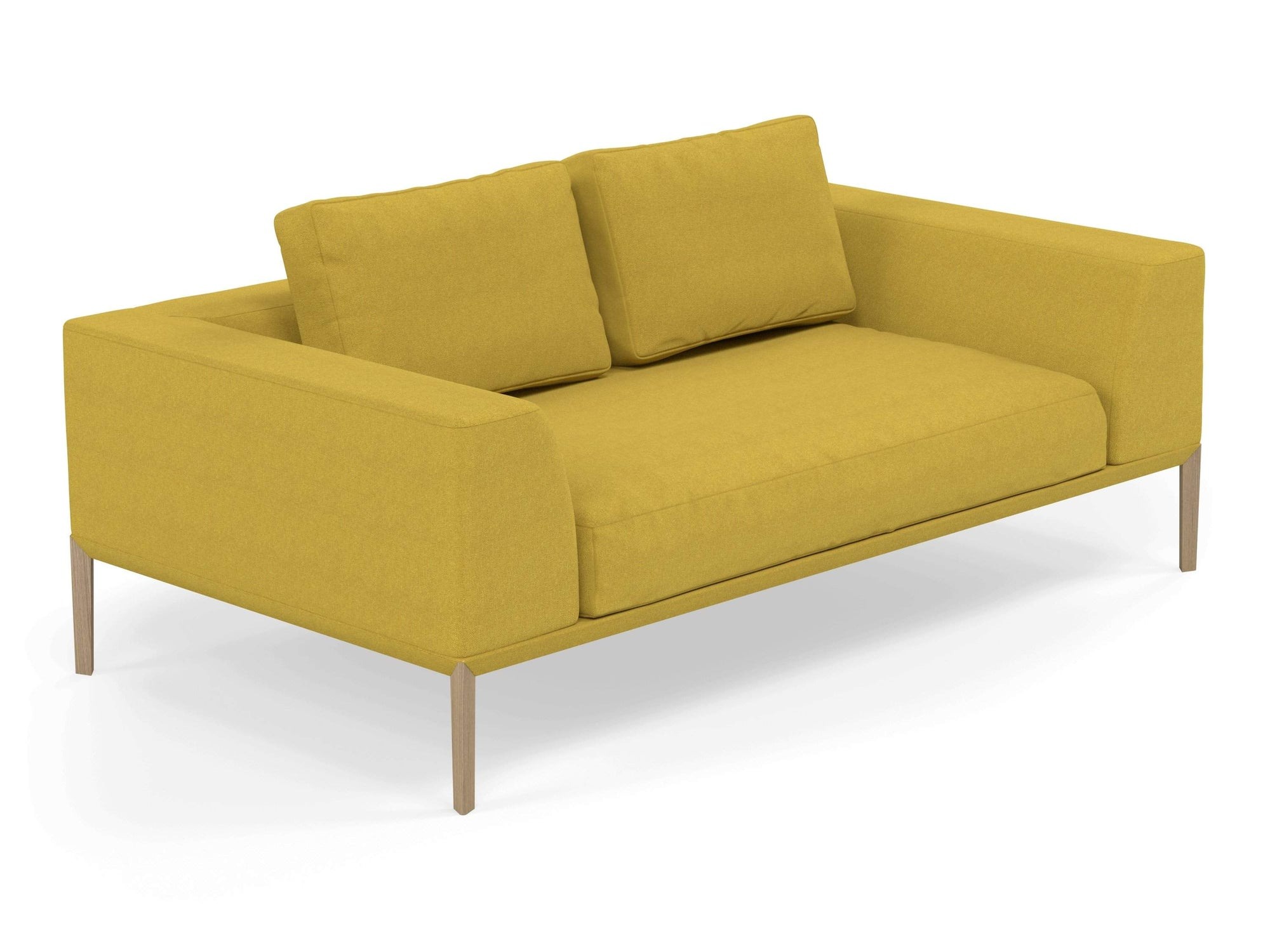 Modern 2 Seater Sofa with 2 Armrests in Vibrant Mustard Yellow Fabric-Natural Oak-Distinct Designs (London) Ltd