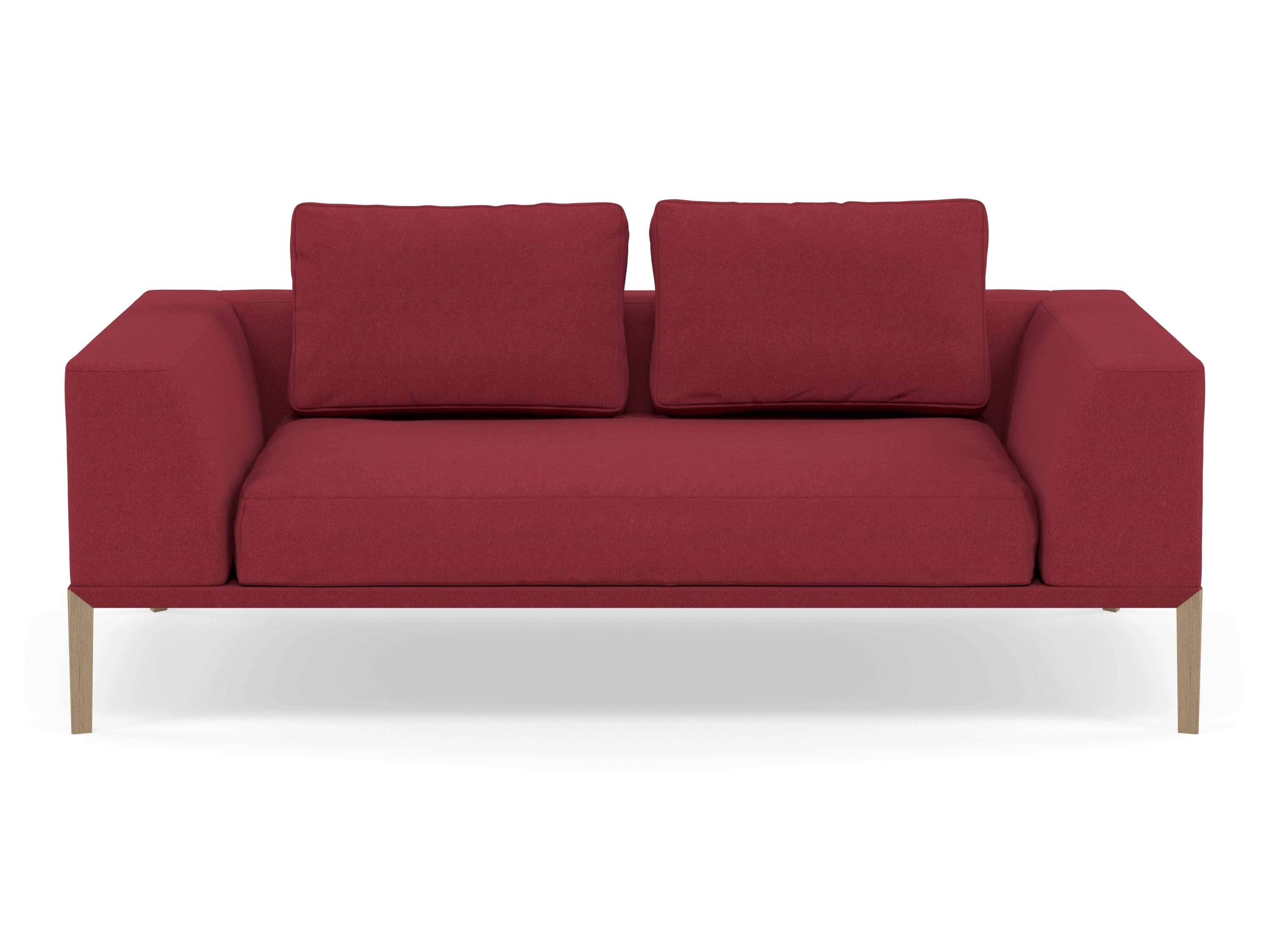 Modern 2 Seater Sofa with 2 Armrests in Rasberry Red Fabric