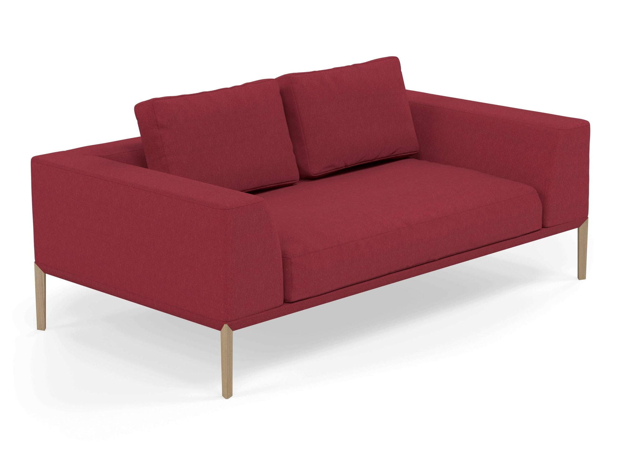 Modern 2 Seater Sofa with 2 Armrests in Rasberry Red Fabric-Natural Oak-Distinct Designs (London) Ltd