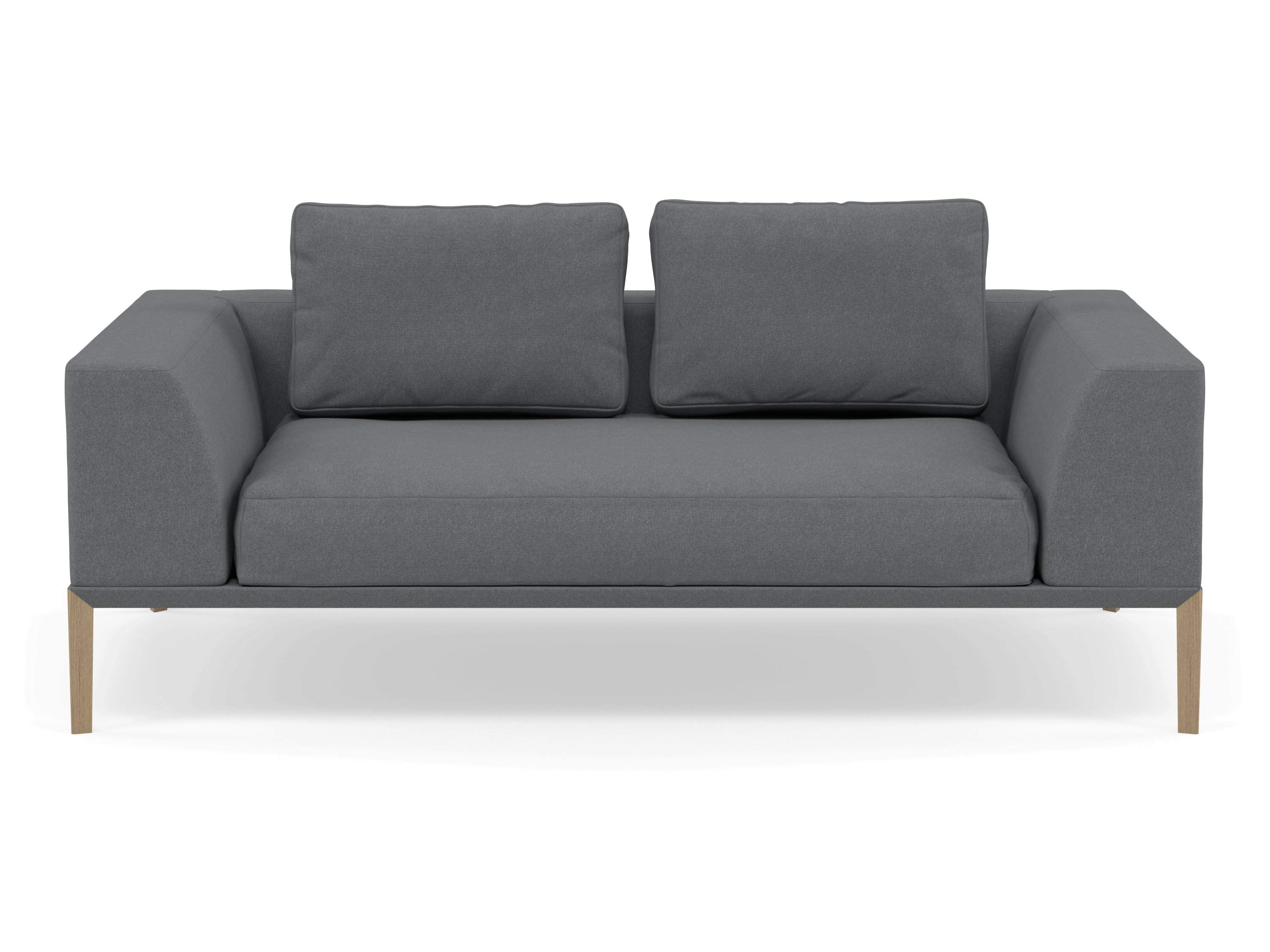 Modern 2 Seater Sofa with 2 Armrests in Sea Spray Blue Fabric