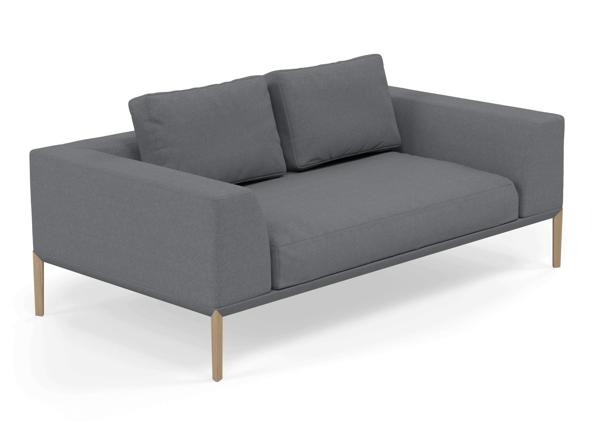 Modern 2 Seater Sofa with 2 Armrests in Sea Spray Blue Fabric-Natural Oak-Distinct Designs (London) Ltd