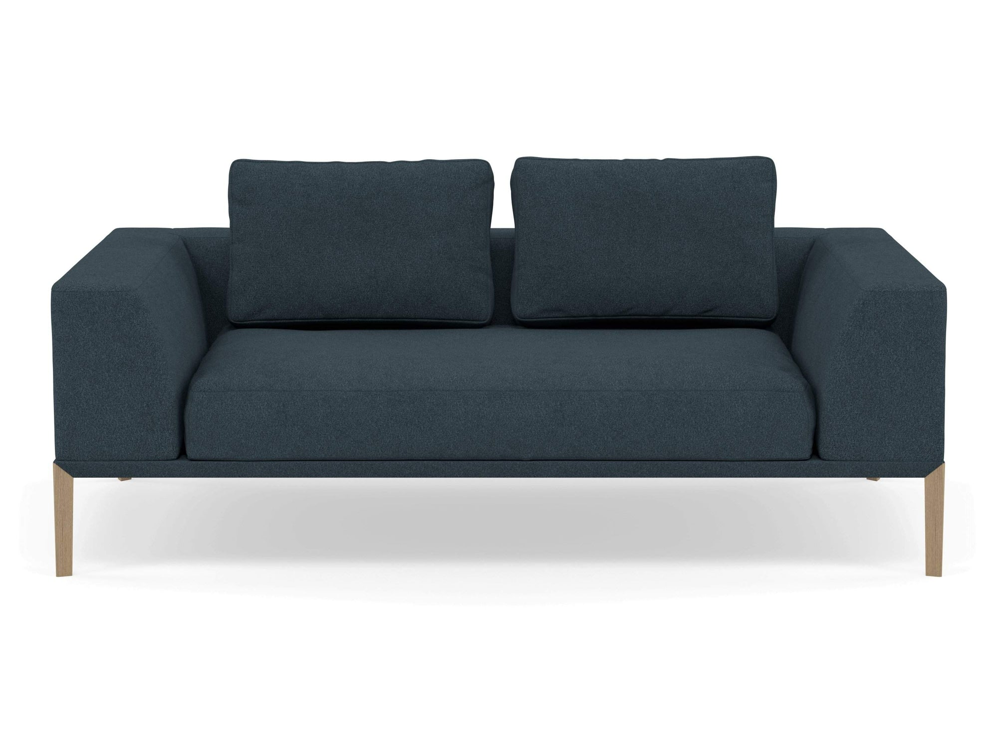 Modern 2 Seater Sofa with 2 Armrests in Denim Blue Fabric-Natural Oak-Distinct Designs (London) Ltd
