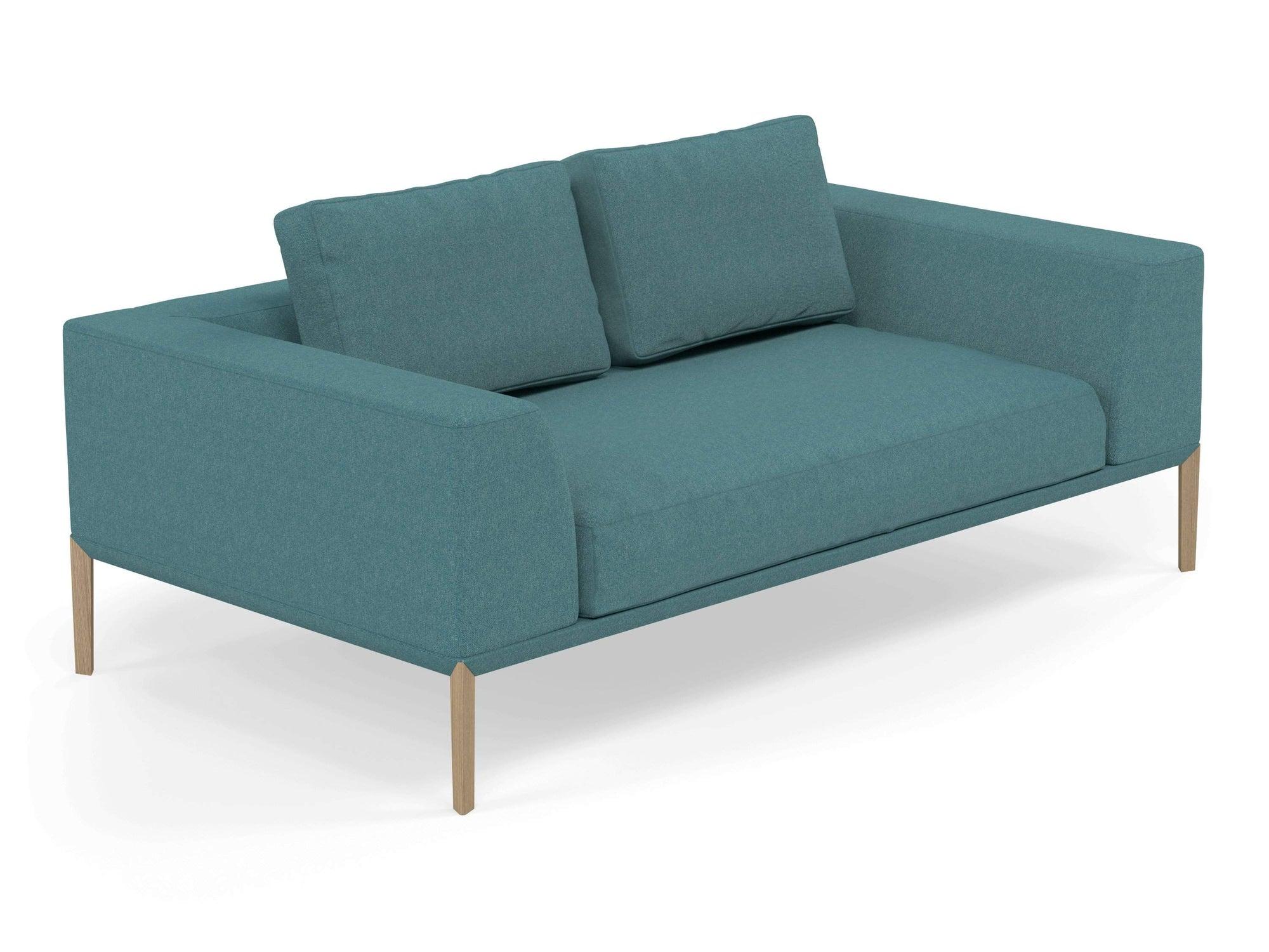 Modern 2 Seater Sofa with 2 Armrests in Teal Blue Fabric-Natural Oak-Distinct Designs (London) Ltd