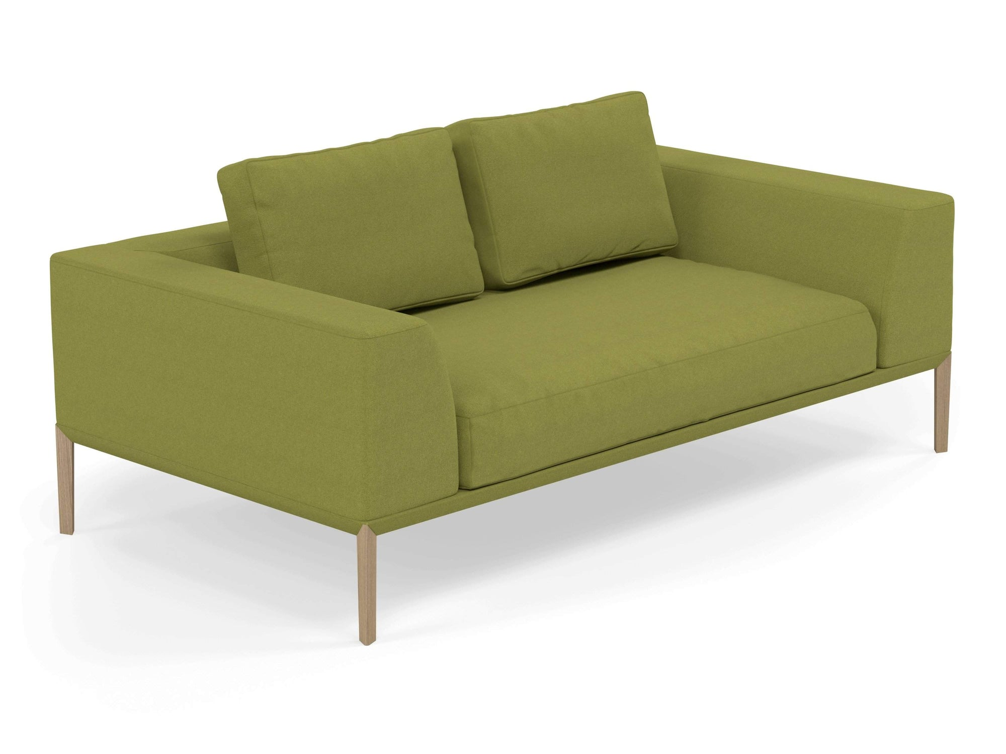Modern 2 Seater Sofa with 2 Armrests in Lime Green Fabric-Natural Oak-Distinct Designs (London) Ltd