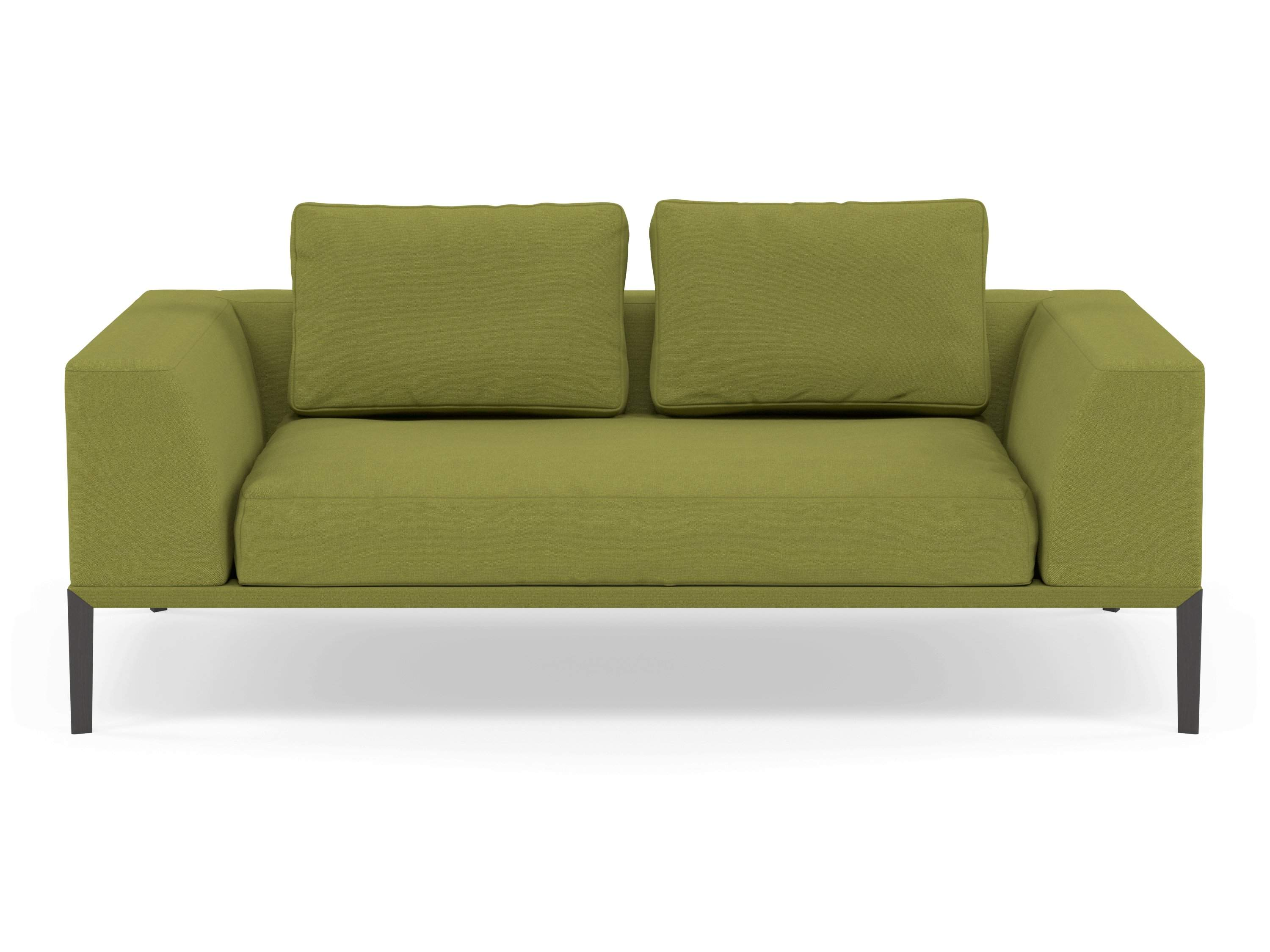 Modern 2 Seater Sofa with 2 Armrests in Lime Green Fabric