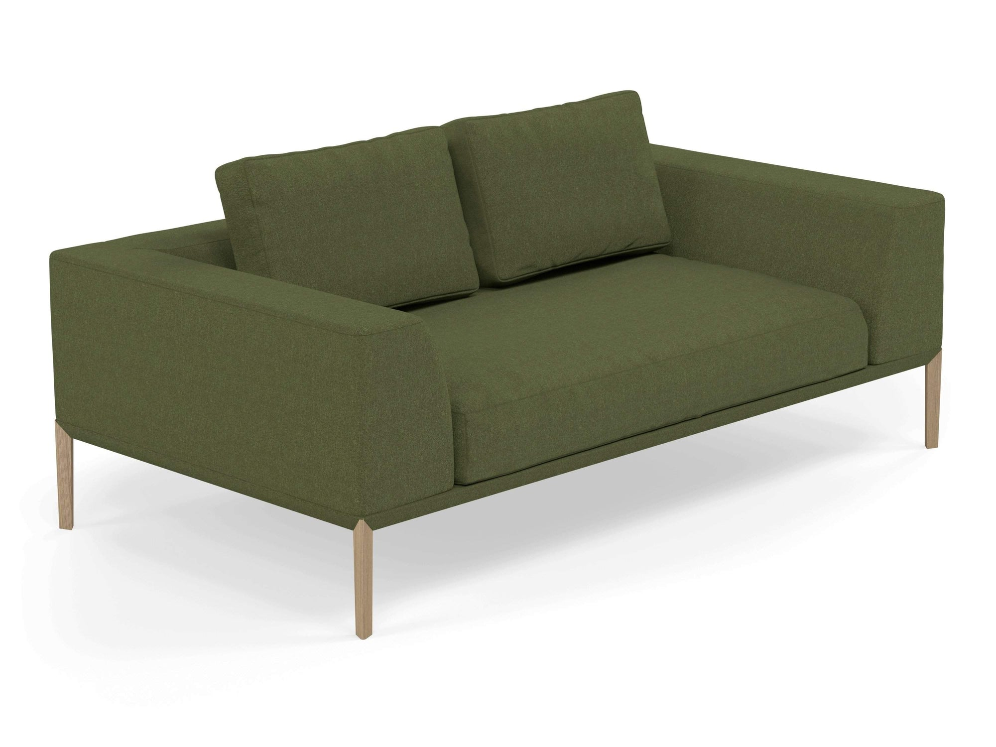 Modern 2 Seater Sofa with 2 Armrests in Seaweed Green Fabric-Natural Oak-Distinct Designs (London) Ltd