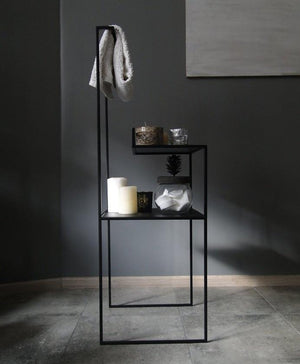 Bespoke Metal Narrow Two shelve Cloths Rack Bathroom Towel Hanger 40x115x36cm (LxHxD) in Black-RECTANGULAR-Distinct Designs (London) Ltd