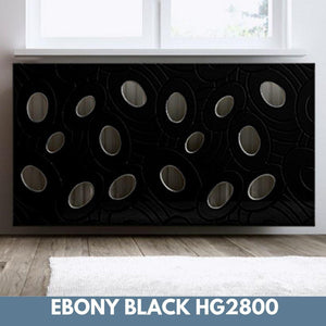 Sophisticated Removable Radiator Heater Cover with bold GALAXY Design HIGH GLOSS Finish & Colours-Ebony Black Gloss-70x90cm-Distinct Designs (London) Ltd