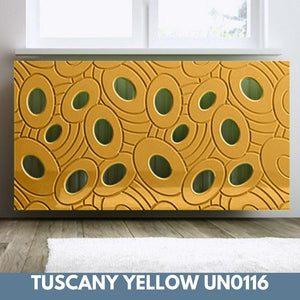 Sophisticated Removable Radiator Heater Cover with bold GALAXY Design in Satin MATT Finish & Colours-Tuscany Yellow Satin-70x90cm-Distinct Designs (London) Ltd