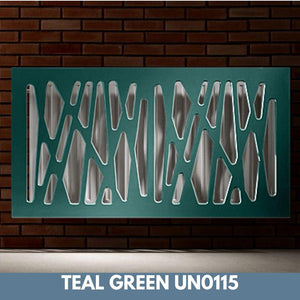 Stunning Removable Radiator Heater Cover with Futuristic GEO Design in SATIN MATT Finish & Colours-Teal Green Satin-70x90cm-Distinct Designs (London) Ltd