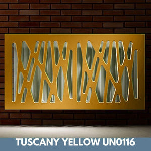 Stunning Removable Radiator Heater Cover with Futuristic GEO Design in SATIN MATT Finish & Colours-Tuscany Yellow Satin-70x90cm-Distinct Designs (London) Ltd