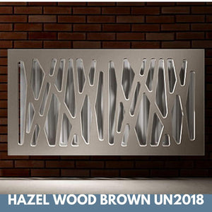Stunning Removable Radiator Heater Cover with Futuristic GEO Design in SATIN MATT Finish & Colours-Hazel Wood Brown-70x90cm-Distinct Designs (London) Ltd
