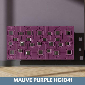 Bespoke Removable Radiator Heater Cover with geometric SATURN Design in HIGH GLOSS Finish & Colours-Mauve Purple Gloss-70x70cm-Distinct Designs (London) Ltd
