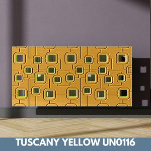 Bespoke Removable Radiator Heater Cover with geometric SATURN Design in SATIN MATT Finish & Colours-Tuscany Yellow Satin-70x90cm-Distinct Designs (London) Ltd
