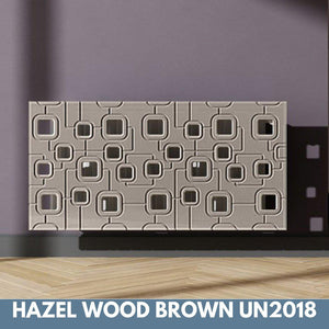 Bespoke Removable Radiator Heater Cover with geometric SATURN Design in SATIN MATT Finish & Colours-Hazel Wood Brown-70x90cm-Distinct Designs (London) Ltd